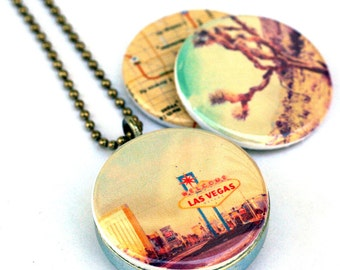 Las Vegas Locket - Magnetic Necklace Lucky Gambling Nevada Gift Upcycled Jewelry by Polarity and Myan Soffia - 3 NECKLACES IN 1