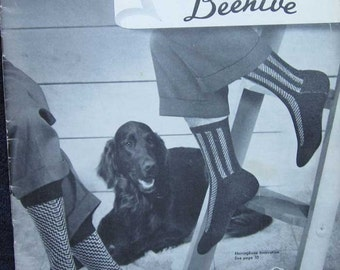 Vintage Mens Socks Knitting Pattern Book by  Patons Beehive
