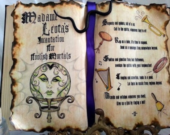 Haunted house Mansion WALLPAPER Madame Leota seance Incantation altered Spell book prop Alchemy