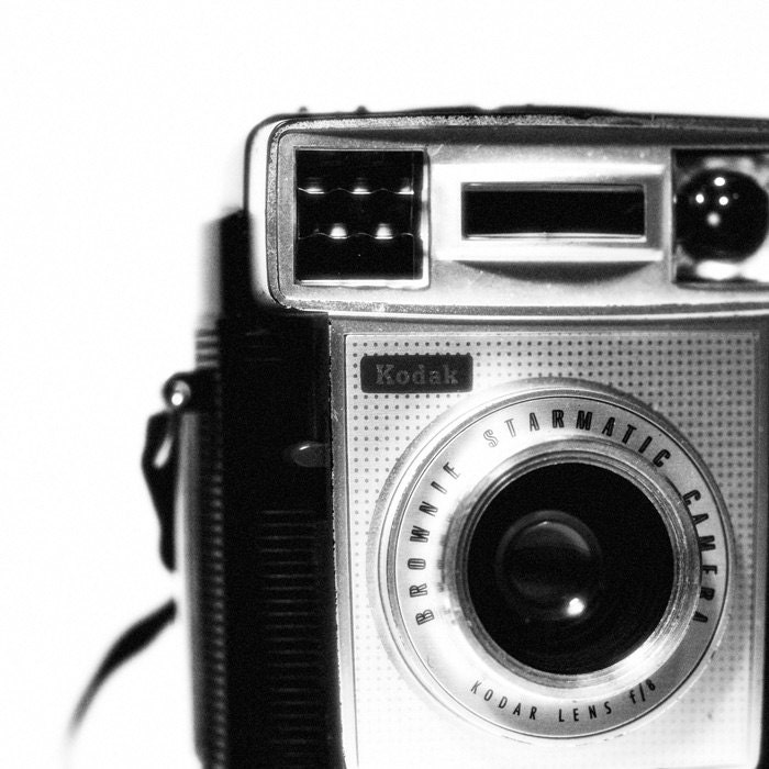 Vintage Camera PHOTO Home Decor Mad Men Black And White By