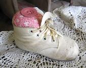 Pincushion, Vintage Baby Shoe, Makedo, Shabby, Cottage, Primitive, White, Pink, Cream, Cssteam, ofg team