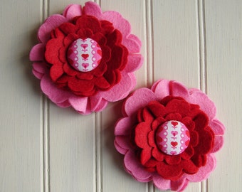 Wool Felt Flowers - Large Blooms Sweetheart Collection - Valentine Felt Flowers