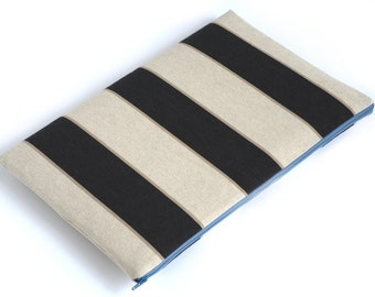 SALE! MacBook 15 Pro Case Sleeve Padded Cover, Brown Beige Grey Striped