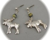 Moose Earrings in Recycled Silver and Yellow Jade - Eco Friendly