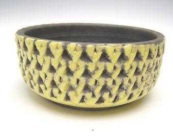 Contemporary ceramic succulent planter pot yellow raku cactus bonsai pottery herb plant pot handmade 6 1/2 x 2 3/4  Free shipping scp12