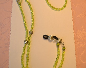 Iridescent Lime Green,Hearts,Flower and Butterfly Beaded,Eye Glasses Holder