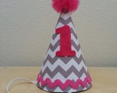 Pink and Grey Chevron First Birthday Party Hat