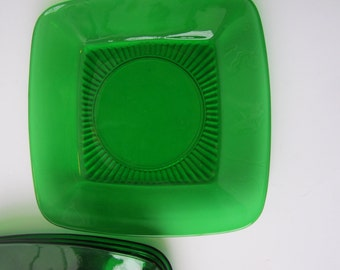 Vintage Anchor Hocking Forest Green Charm Square Luncheon Plates Set of Four
