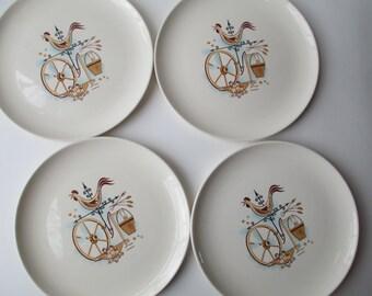 Taylor Smith Taylor Weather Vane Aqua Tan Dinner Plates Set of Four - Vintage Charm