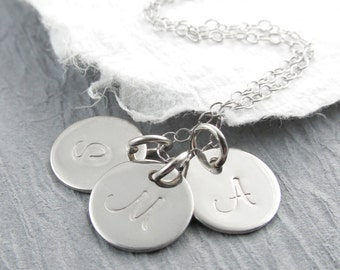 Personalized Jewelry 14k Solid White Gold Initial Necklace Personalized Triple Round Pendant - Your Choice of Initials