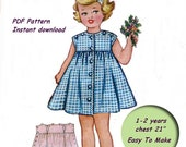 Vintage Girls Dress Pattern With Ric Rack Trim Instant Download circa 1950s Toddlers Size 1-2 Years