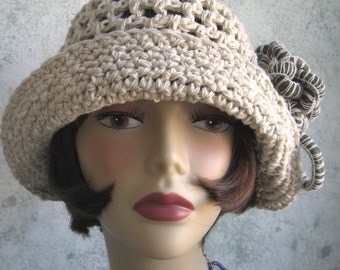 Brimmed Crochet Hat Pattern Cloche With Flower Trim PDF Instant Download