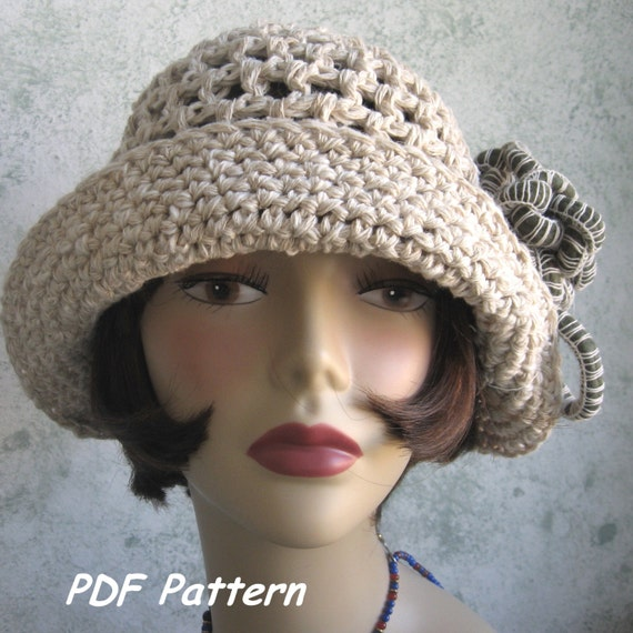 Crochet Pattern For A Cloche Hat : Brimmed Crochet Hat Pattern Cloche With Flower Trim PDF