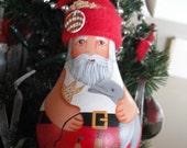 Santa Loves the Beach & Dolphins Lightbulb Ornament