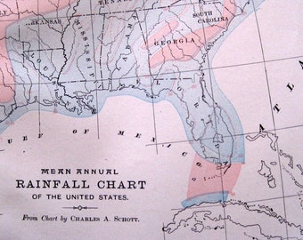1897 Antique Hand Colored  Map Chart of Mean Annual Rainfall of the United States Charles Anthony Schott