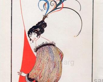 1913 Print of Coquette Paris Beauty A H Fish
