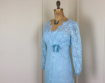 1960s Robins Egg Blue Lace Overlay Cocktail Dress - size extra small to small, xs/s