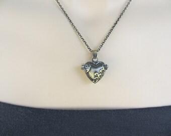 Valentines Heart Necklace, Locket, Prayer Box, Antiqued Brass, Three Dimensional, Heart Locket, Irisjewelrydesign