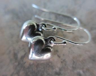 Tiny Silver Heart Earrings, Valentine's Earrings, Sterling Silver, Small Heart Earrings, Irisjewelrydesign