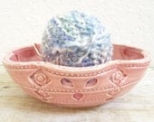 Yarn Bowl Ceramic Handmade Wheel Thrown Pottery Honeysuckle Rose Pink Pastel