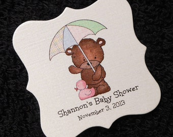 Personalized Baby Girl Baby Shower Favor Tags, Teddy Bear With Umbrella And Pink Ducky, Set Of 40 2 x 2 Baby Girl Shower Tags