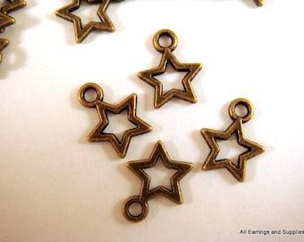 50 Antique Bronze Star Drop Charm Tibetan Silver LF/NF 12x10mm - 50 pc - M7041-AB50-M
