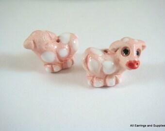 SALE - 2 Pink Cow Beads Animal Bead Barnyard Animal Ceramic Hand Painted Glazed 19x14mm - 2 pc - 5948
