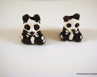 SALE - 2 Panda Bear Beads Animal Bead Ceramic Hand Painted Glazed 16x13mm - 2 pc - 5957