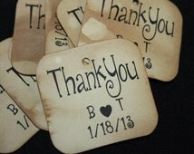 "100 Thank You Personalize 1"" SMALL Tags with initials and date"