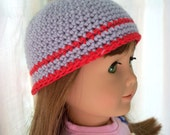 Crochet Doll Hat Grey and Red Handmade Hat fits American Girl