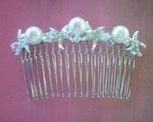 Hair Comb Starfish, Swarovski Pearls and Crystals, Beach Wedding, Bridal