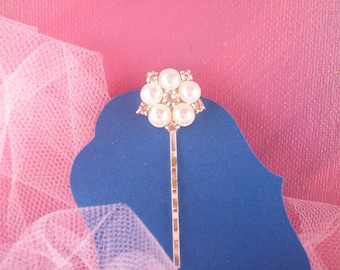 Rhinestone and Pearl silverplated Bobby Pins One, Bridal, Wedding, In Your Hair, Clip Your Veil