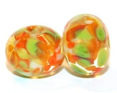 Citrus Drop - Round Glass Artist Handmade Lampwork Bead Pair