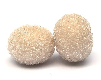 NEW - Seashell Sugar Bead Pair Lampwork Glass