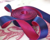 "5 Yards of Navy and Very Hot Pink Reversible Satin Ribbon (1/2"")"