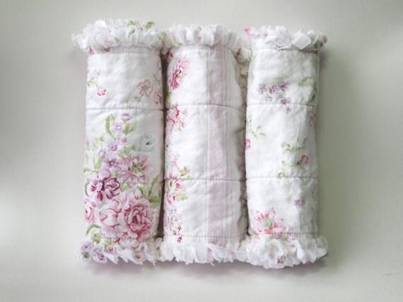 Shabby Baby Girl Burp Cloths Pink Cottage Chic Set of Three