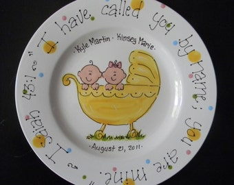 Twins Baptsim Plate - Hand Painted Baby Plate for Twins- Great Baptism Gift
