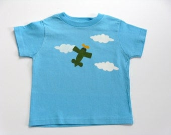 Airplane T Shirt, Airplane Pilot Shirt, Airplane Party, Airplane Birthday, 1st Birthday Outfit, Hand Painted Tee or Top, Baby and Toddler