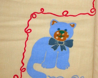 vintage 80s novelty print fabric, featuring cute kittens and teddy bears motif, 1 yard, 33 inches