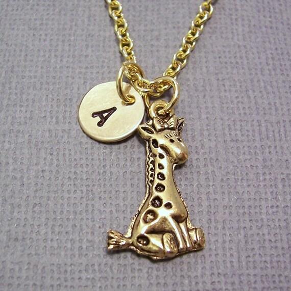 Giraffe Charm Bracelet: Personalized Giraffe Charm Necklace Gold Giraffe By