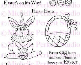 Digital stamp Set - Easter Bunny eggs baskets bunnies stamping scrapbooking cardmaking