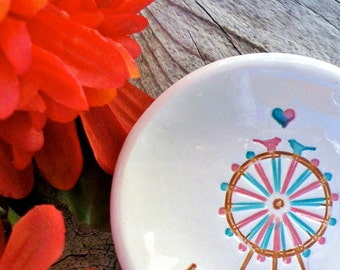 Amusement Park Lovers Ring Bowl - Ferris Wheel Love Birds - Personalized Ring Dish - Jewelry Bowl - Ring Holder - Gift Dish