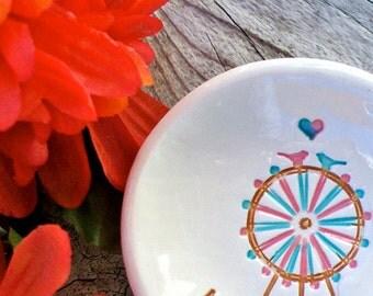 Amusement Park Lovers Ring Bowl - Love Birds on Ferris Wheel - Ring Dish - Jewelry Bowl - Ring Holder - Gift Dish - Wedding Ring Dish