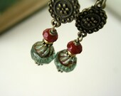 Aqua Picasso glass and carnelian brass earrings - dangle - turquoise transparent - golden - ruby red carnelian