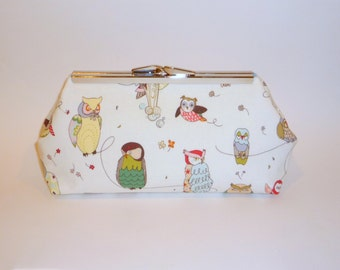 Owl clutch purse - blue satin lining