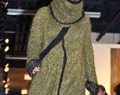 One Of A Kind  Couture knitted mohair ,cotton and silk coat