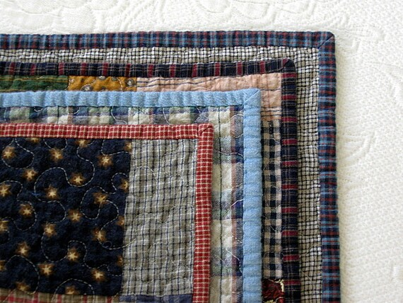 "farmhouse / homespun nap quilt.....62"" x 56"".....echo quilt no. 32 ..... ready to ship"