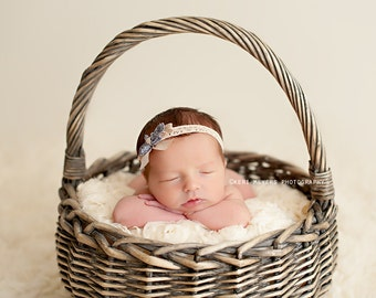 Arden - Blue Neutral Beige Lace Bow Headband - Baby Infant Newborn Girls Adults - Photo Prop