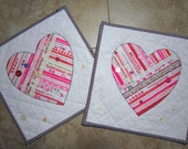 Set of 2 SELVAGE VALENTINE Mini Quilts from Quilts by Elena Selvages