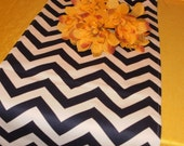 BISTRO SET Table Runner and Two Napkins-- Navy Blue and white Zigzag Chevron Or Any Print In Our Shop